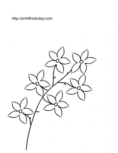 Free Printable Flowers on a branch Coloring Page