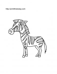Free printable zebra coloring page for kids