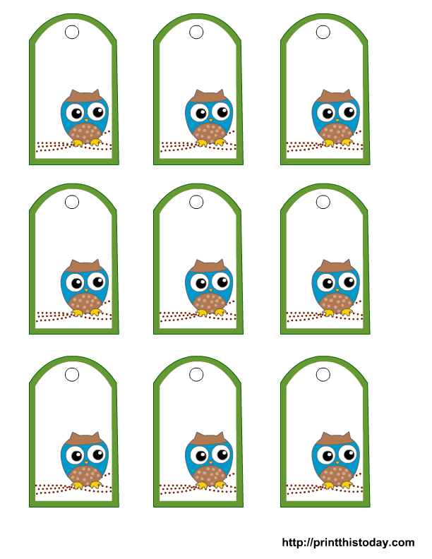 Free owl baby shower favor tags templates for Baby shower label template for favors