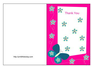 Free Butterfly Baby shower Thank you card printable