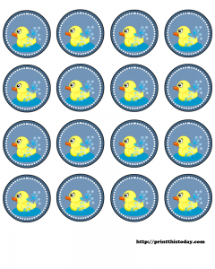 free baby shower round labels with duck