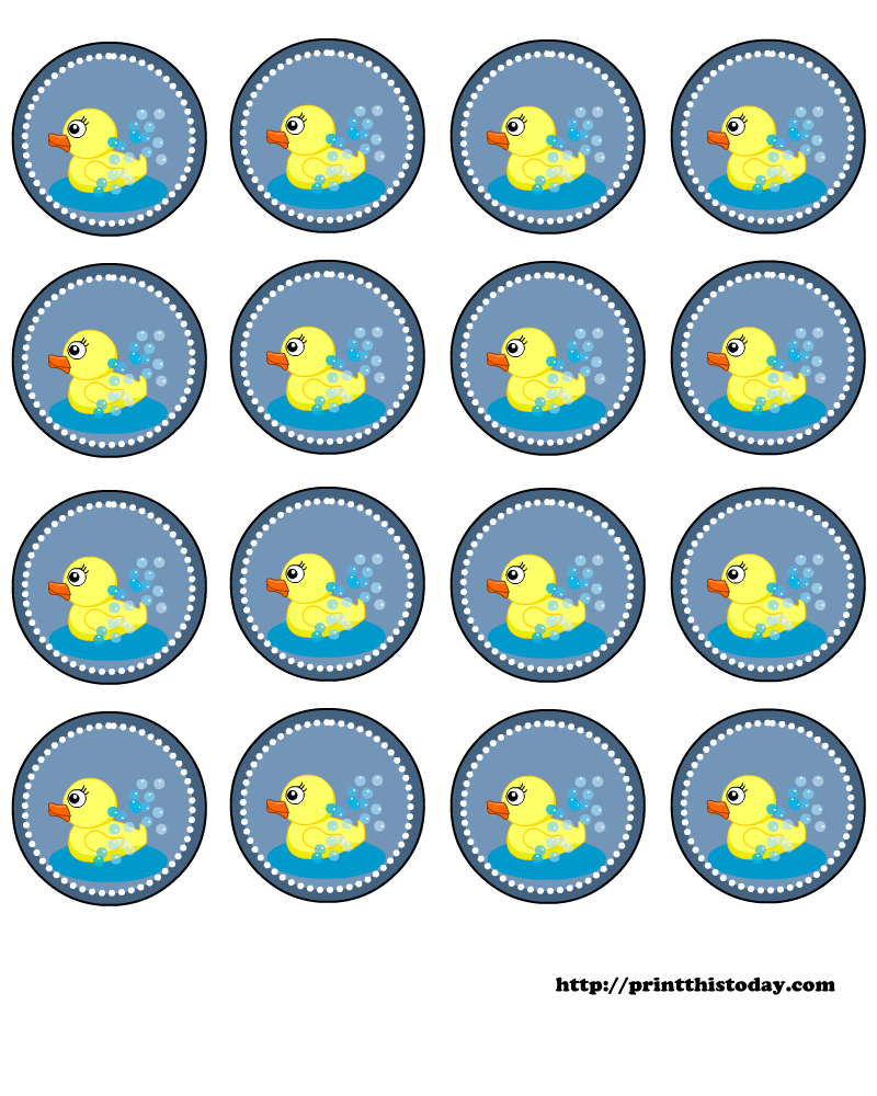 Baby Duck Template Free baby shower round labels