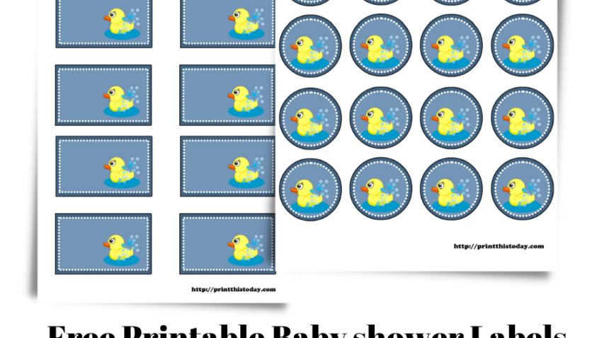 Free Printable Baby shower Labels with a cute duck