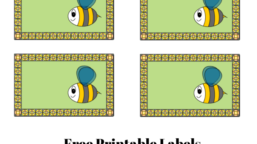 Free Printable Labels with Honey Bees