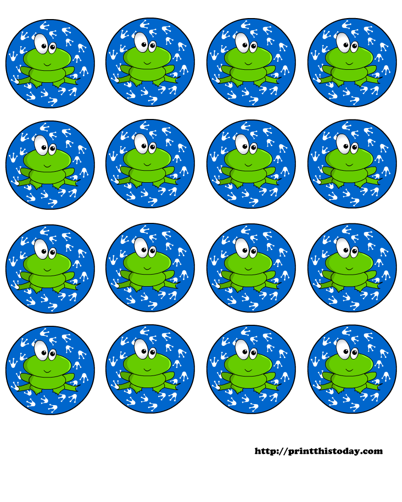 Free printable baby shower round labels with frog