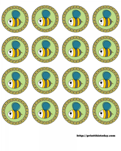 Free Printable Round Labels with Honey Bee
