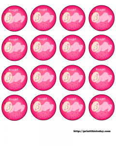 free girl baby shower round labels