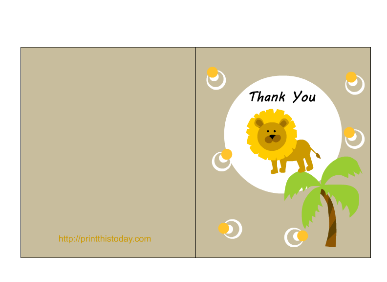 free printable jungle themed baby shower thank you cards
