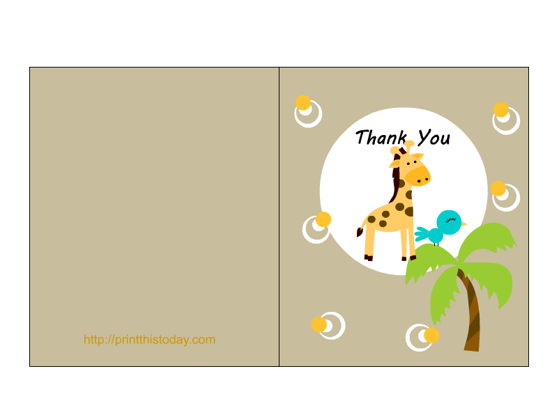 themed baby shower thank you card printable with an adorable baby