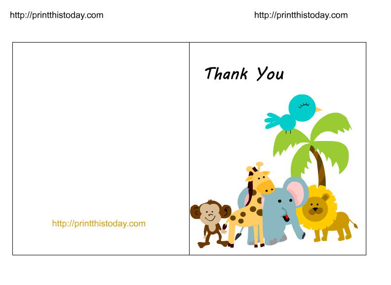 Free Jungle Baby Shower Thank You Cards Printable