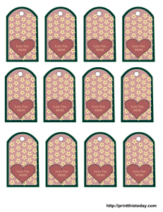 Free mother's day tags templates with heart
