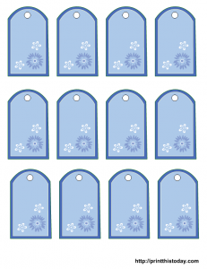 Free printable tags with blue and white flowers for mother's day