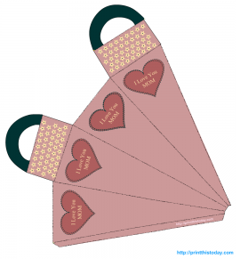 Free Printable Mother's day favor bag with hearts and flowers