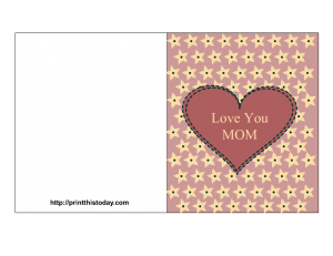 Free printable mother's day card with message I love you mom