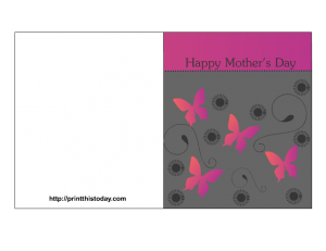 free mother's day card with flowers and butterflies