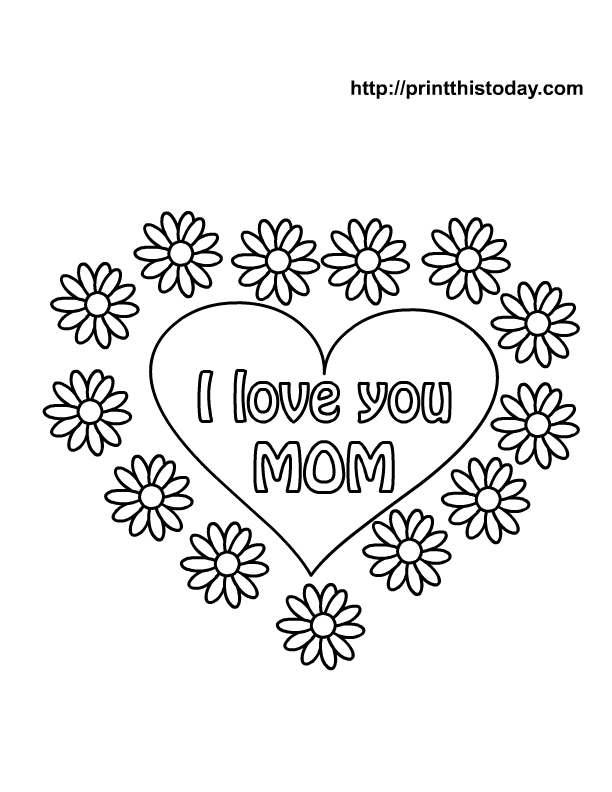 Mothers Day Heart Coloring Pages Free Mother's Day Coloring