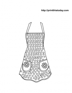 Free printable mothers day page with apron, polka dots and daisies