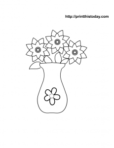 Mothers day flowers coloring page for kids