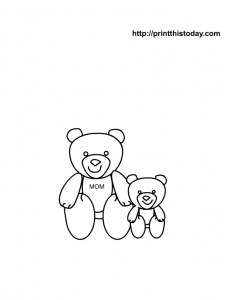 Cute free coloring page for mothers day with mama and baby bears