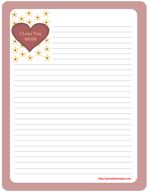 free printable stationery template with heart and flowers