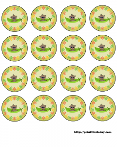 Free Printable Pea Pod Baby Shower Labels (African American)