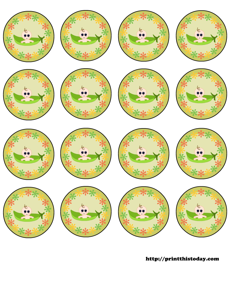 free pea pod baby shower round labels to download