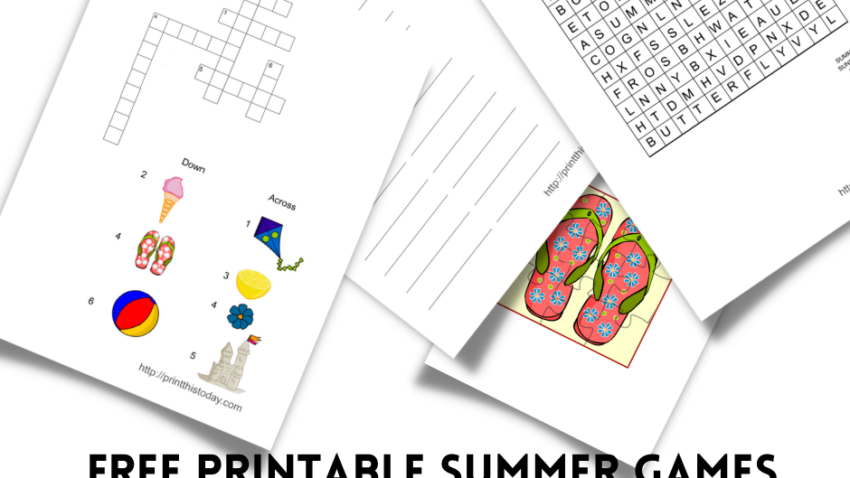 Free Printable Summer Games, Puzzles, and Activities