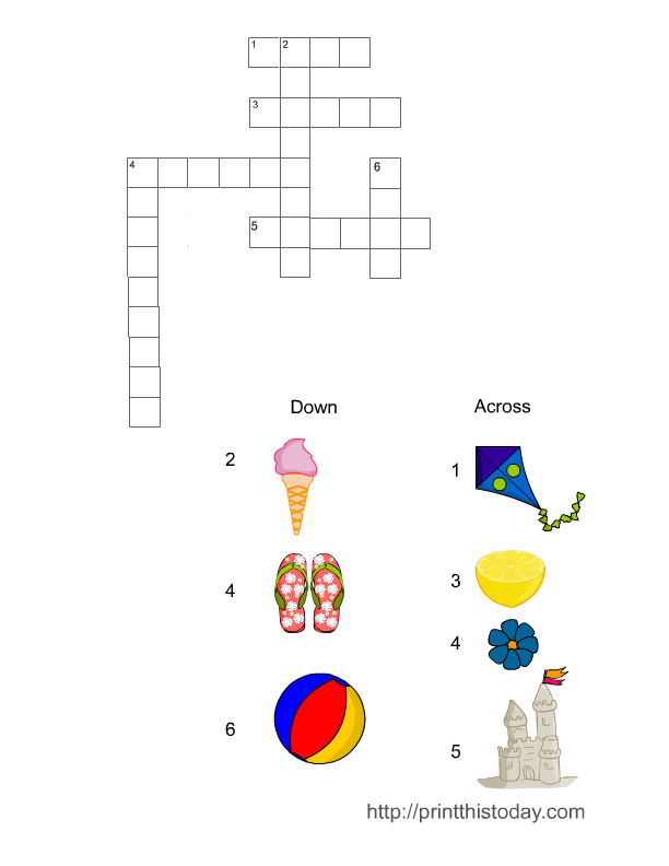 Free Printable Summer Crossword Puzzle Game