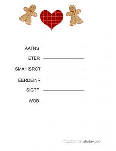 Christmas Word Scramble Game Printable