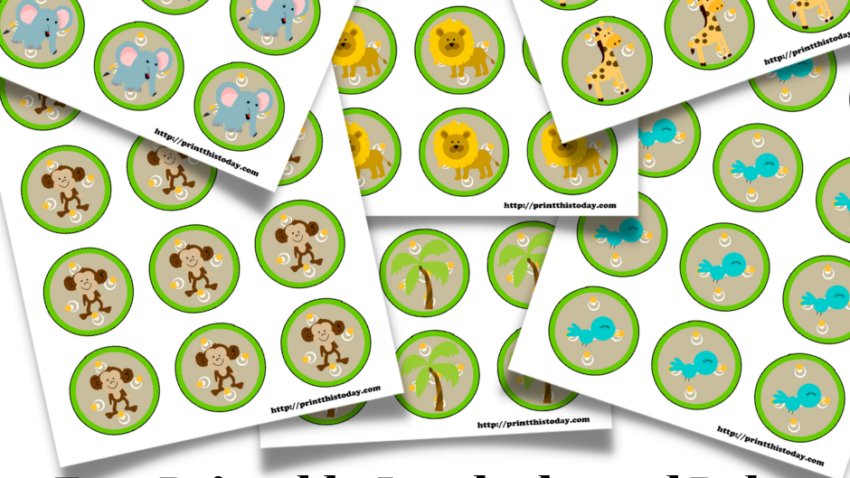 Free Printable Jungle themed Baby Shower Labels