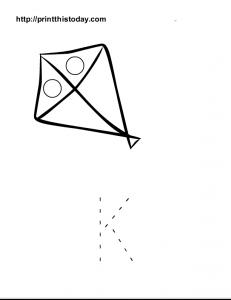 Color and trace letter K worksheet