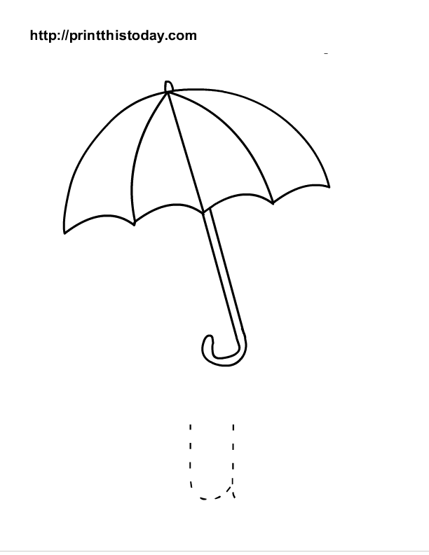 Free printable alphabet u tracing worksheets for Printable umbrella template for preschool