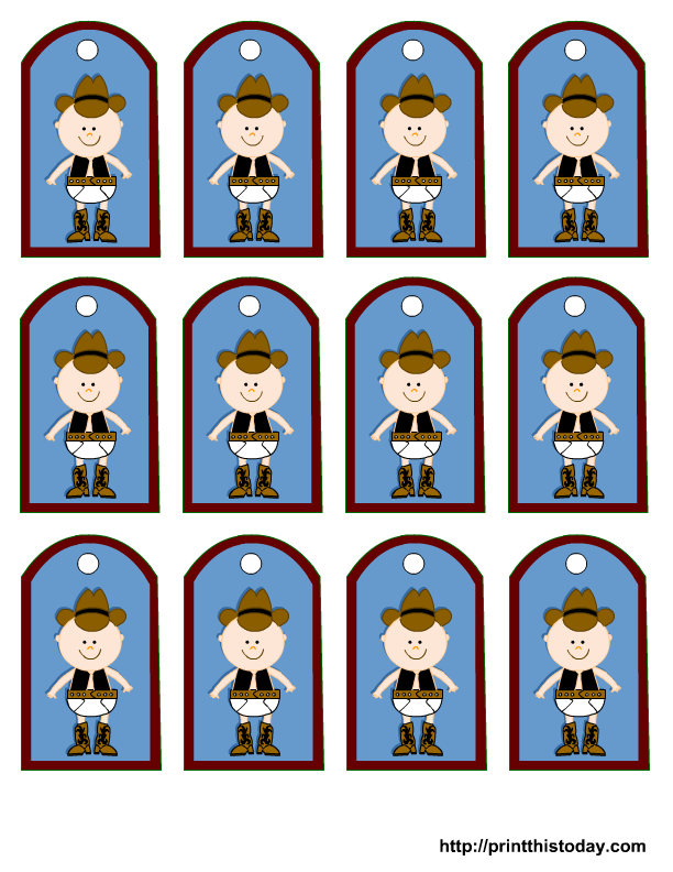 Free Printable Cowboy Birthday Party Favor Tags