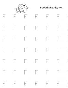 Letter F tracing practice worksheet