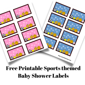 Free Printable Sports themed Baby Shower Labels