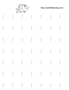 Alphabet f tracing practice worksheet