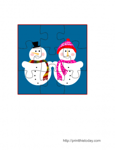 Snowman and Snow-lady Jigsaw Puzzle Game for Winter