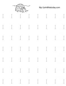 free printable alphabet I tracing worksheet for kindergarten