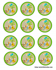 Free printable labels with baby jungle animals