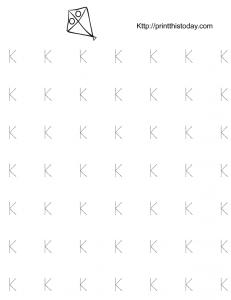 free K tracing worksheet for kindergarten