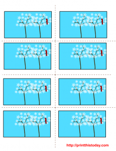 Cute labels printables with trees made of snowflakes