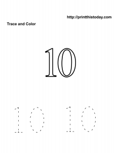 Free number ten math worksheet
