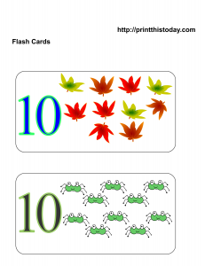 Number 10 math flashcards