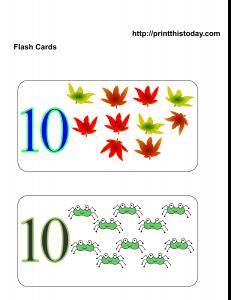 Number 10 math flashcards
