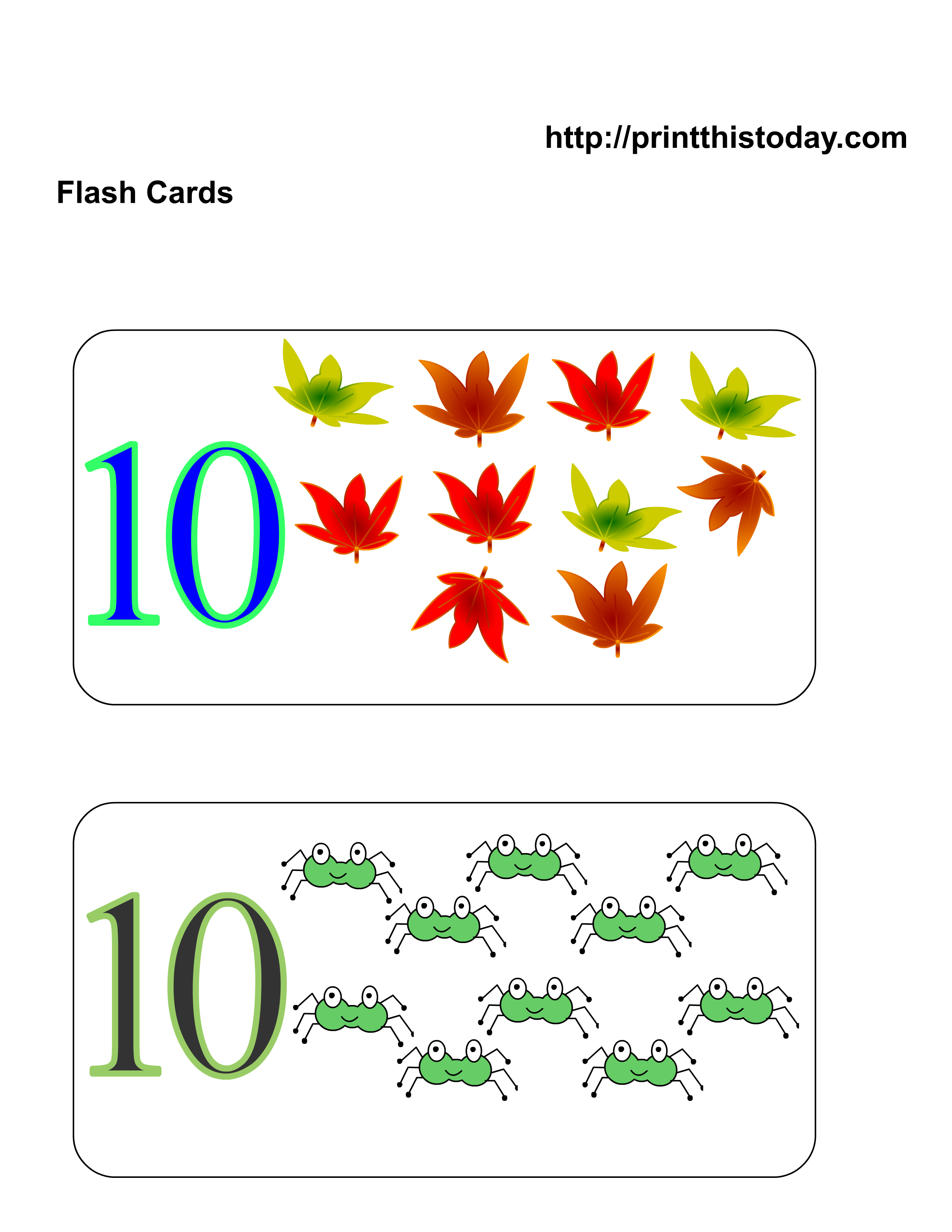 Worksheet Flashcards For Kindergarten free printable kindergarten math flashcards flash cards with ten autumn leaves and spiders