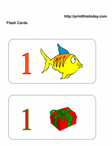 number 1 flash cards