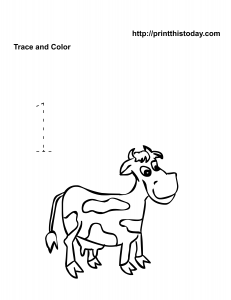 Free animals math worksheet with cow