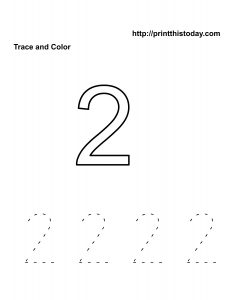 Free kindergarten Math worksheet, number two