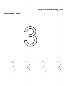 Free number 3 kindergarten math worksheet