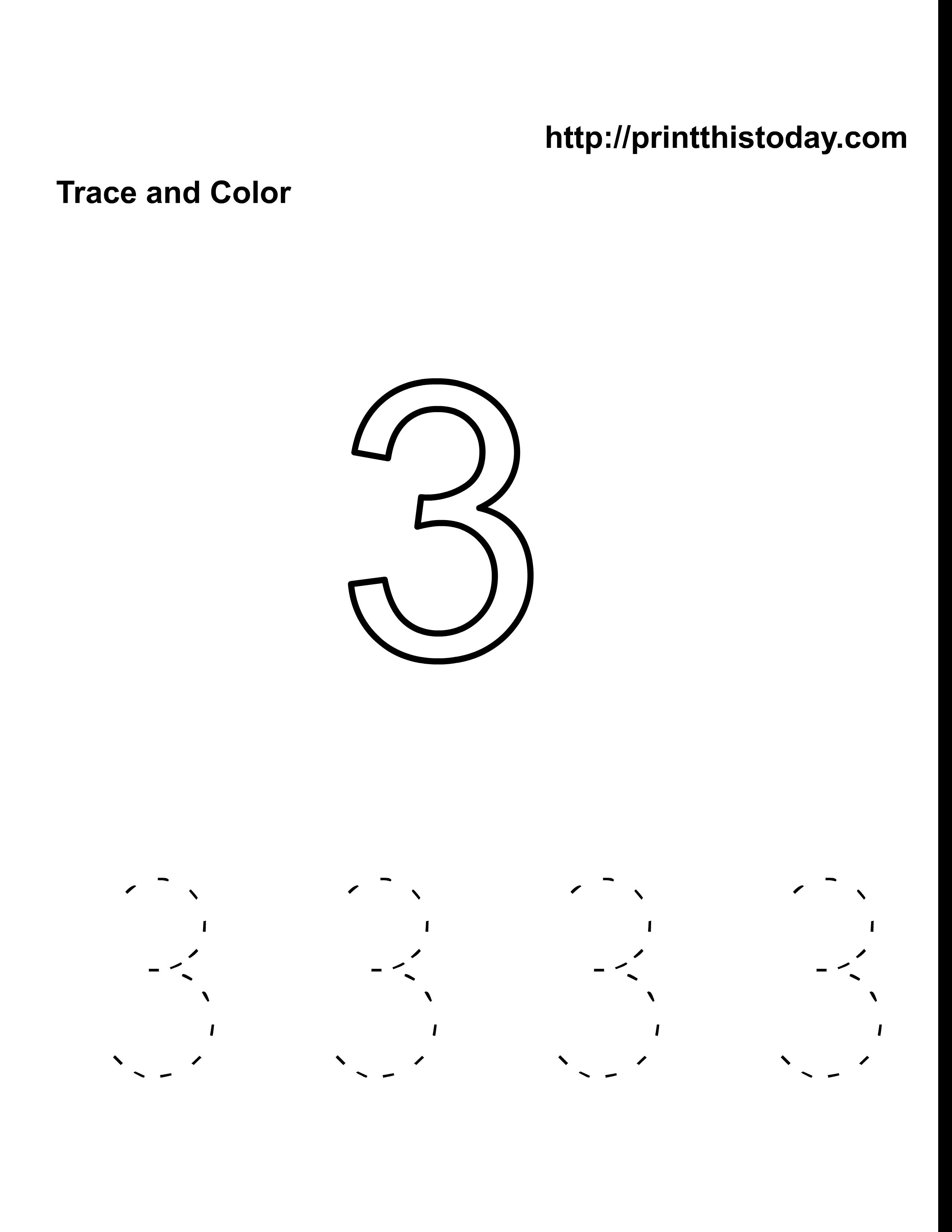 Free Kindergarten Math Worksheets (Number Three, 3)